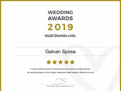 Galvan Sposa riceve il premio Wedding Awards 2019